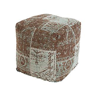QAZQA Vintage Piazza Patch ottomano turchese/Brown 45x45x45cm - Agra