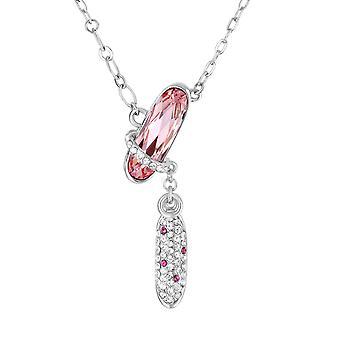 Collier Strass, orné de cristal de Swarovski Rose et Plaqué Rhodium