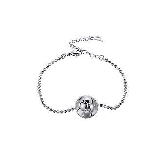 Mixed plate soccer ball bracelet white gold