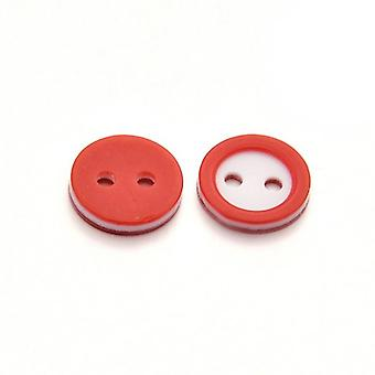 Packet 10 x Red/White Resin 11mm Round 2-Holed Sew On Buttons HA14175