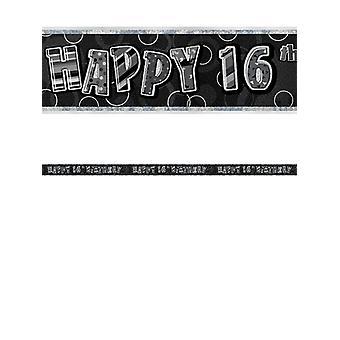 Birthday Glitz Black & Silver 16th Birthday Prism Banner