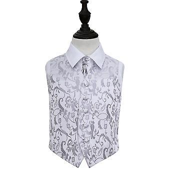 Silberne Blumen Hochzeit Weste & Krawatte Set für jungen