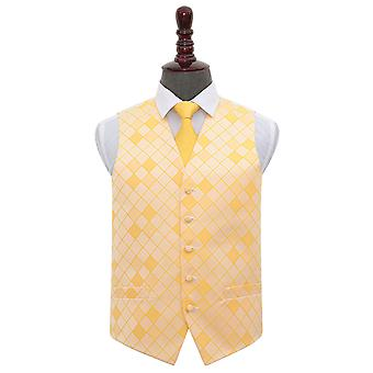 Sunflower Gold Diamond Wedding Waistcoat & Tie Set