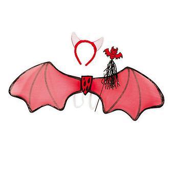Devil set 3 PCs wings 85cm headband with horns bar accessory