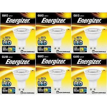 6 X Energizer LED Energy Saving Lightbulb GU10 5.8w = 60w Warm White [Energy Class A+]