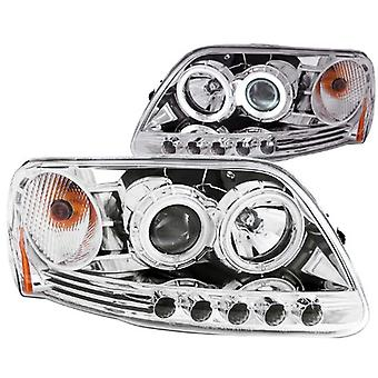 Anzo USA 111054 Ford F-150 1 Pc. Projector Chrome Clear With Halo Headlight Assembly - (Sold in Pairs)