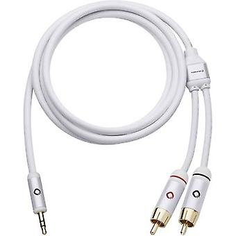Oehlbach RCA / Jack Audio/phono Cable [2x RCA plug (phono) - 1x Jack plug 3.5 mm] 5 m White gold plated connectors