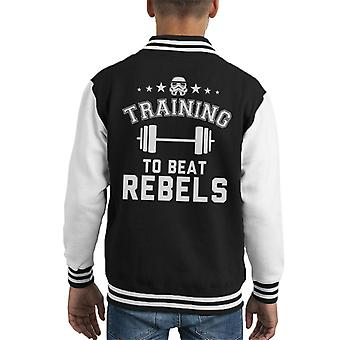 Original Stormtrooper Training To Beat Rebels Kid's Varsity Jacket