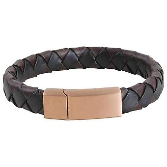 David Van Hagen Two Toned Woven Clip Bracelet - Brown/Black/Rose Gold