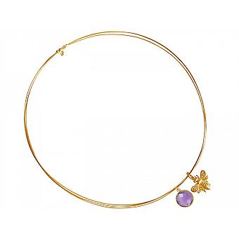 Chain - pendants - silver - gold plated - bee - Amethyst - violet - lilac 45 cm