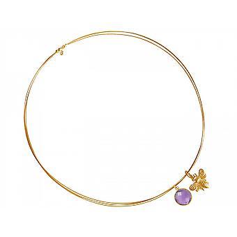 Kette – Anhänger - Silber - Vergoldet – Biene – Amethyst – Violett – Lila 45 cm
