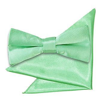 Mint Green Plain Satin Bow Tie & Pocket Square Set for Boys