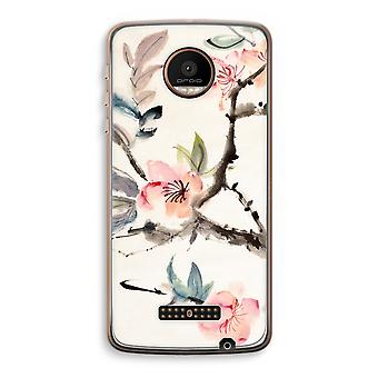 Motorola Moto Z Force Transparent Case (Soft) - Japenese flowers