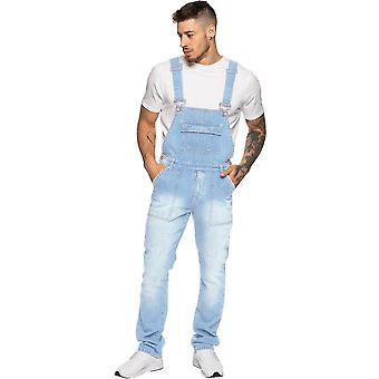 Mens Enzo Denim Light Blue Designer Dungarees | Enzo Designer Menswear