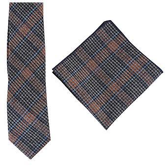 Knightsbridge Neckwear Prince of Wales Check Tie and Pocket Square Set - Blue/Orange/Grey