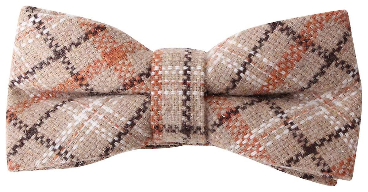 Knightsbridge Neckwear Checked Bow Tie - marron Orange Beige