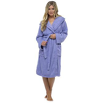 Tom Franks Womens Terry Towelling Wrap Over Hooded Bathrobe