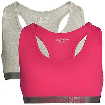 Calvin Klein Girls 2 Pack Customized Stretch Bralette, Heather Grey / Rose Red, X-Large