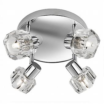 3764CC Triton 4 Light Chrome and Glass Ceiling Spotlight