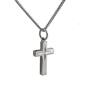 Silver 17x10mm Star cut block Cross with Curb chain