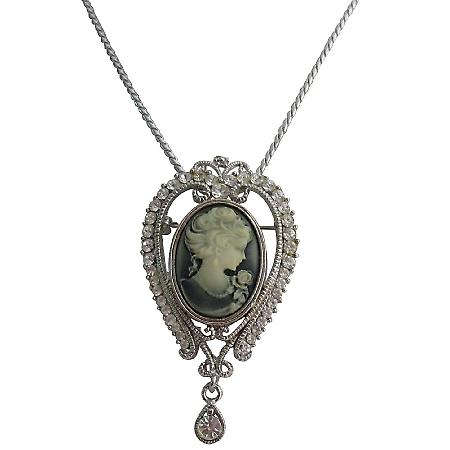 Prom Crown Queen Cameo Pendant Rhodium Plated Chain Necklace