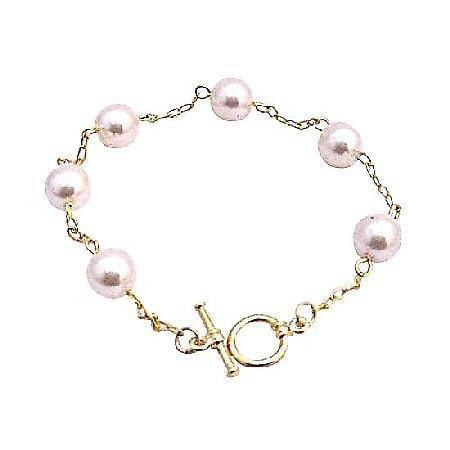 Rosaline Pearls Bracelet 22k Gold Plated Bracelet Bridal Bracelet