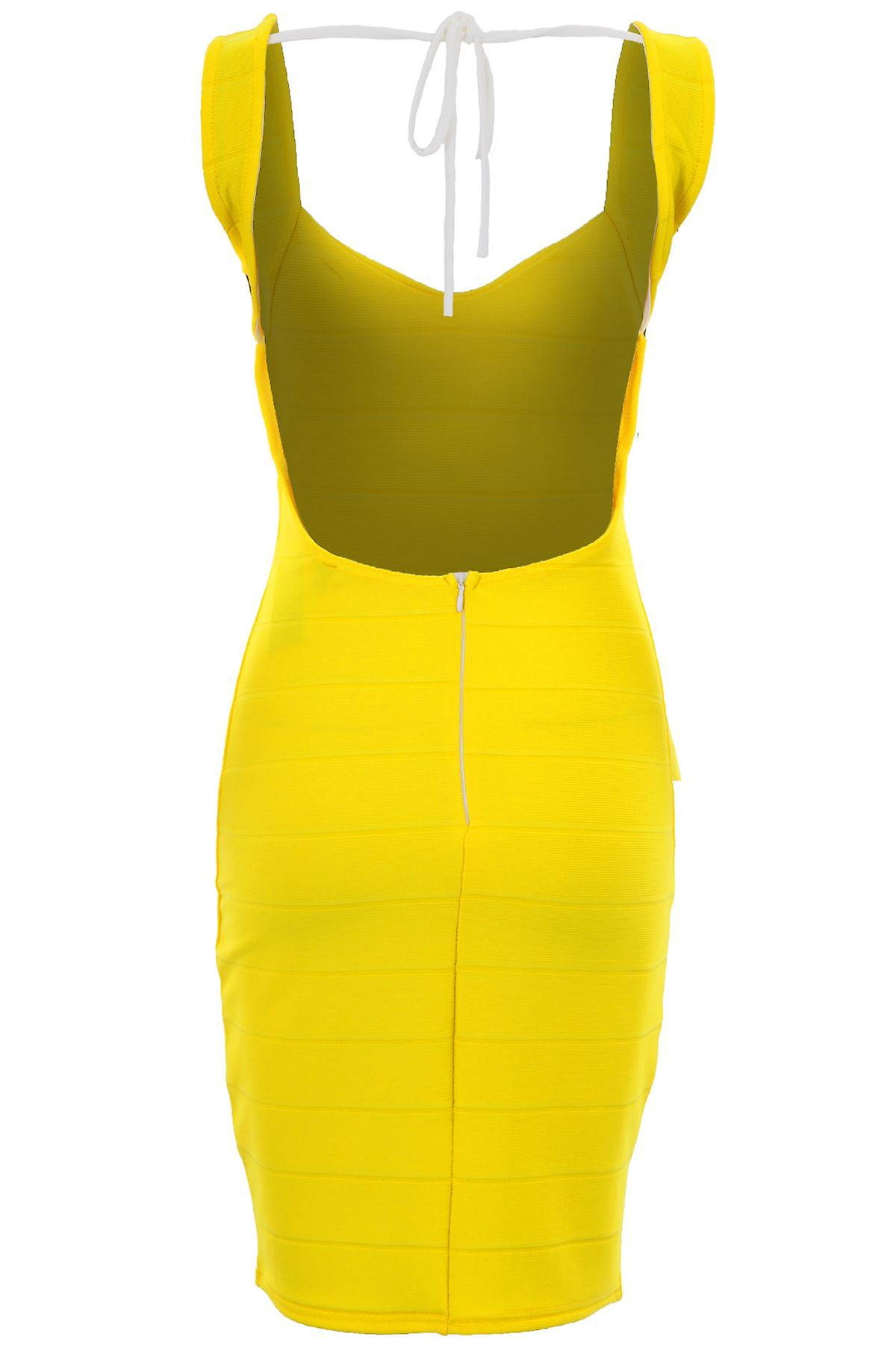 Ladies Celeb Charlotte Bandage Ribbed Backless Yellow Bodycon Sexy Dress
