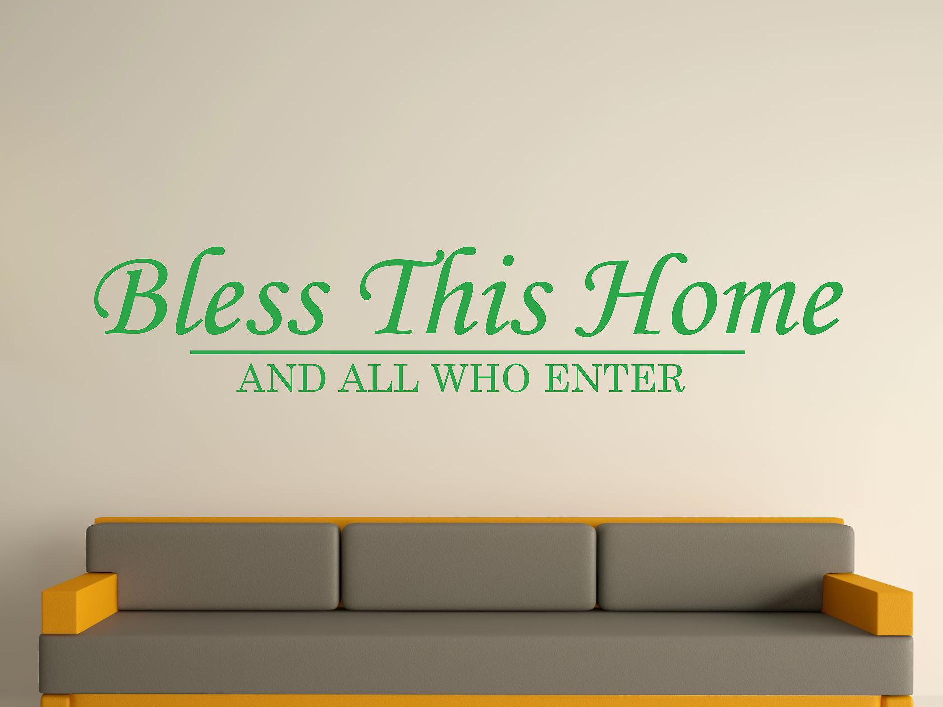 Bless This Home Wall Art Sticker -  Green