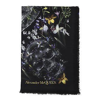 Alexander Mcqueen Black Silk Scarf