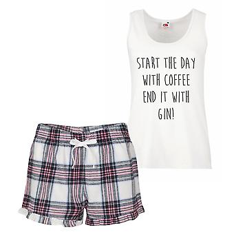 Start The Day With Coffee End It With Gin Pink Tartan Pyjamas