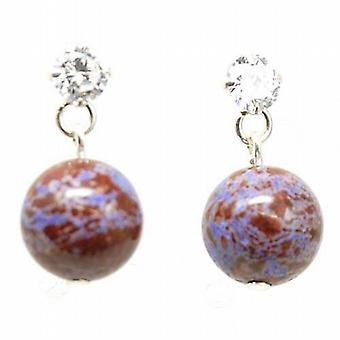 Toc Sterling Silver Purple & Brown Purple Net Jasper Marbellised Ball Earrings