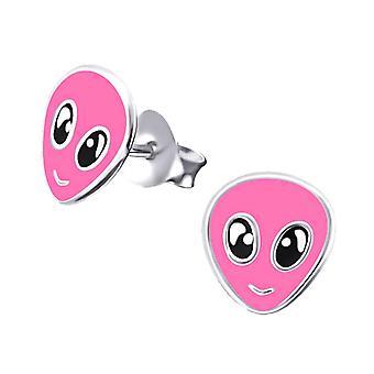 Barn sterling silver rosa Alien stud örhängen