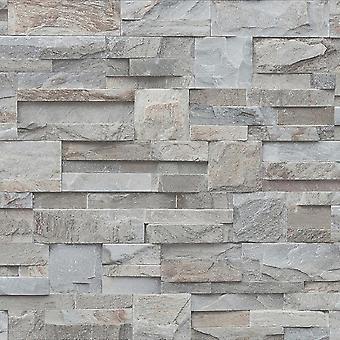 3D Effect Natural Slate Grey Wallpaper Realistic Brick Stone Optics Muriva
