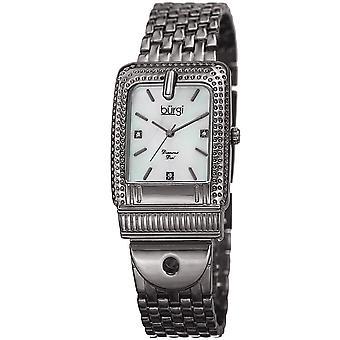 Burgi Women's BUR171GN Mother of Pearl Diamond Buckle Design Bracelet Watch