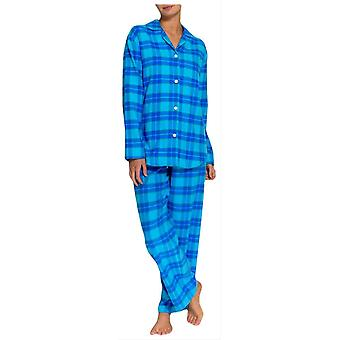 British Boxers Tartan Two Fold Flannel Pyjamas - Aqua Blue