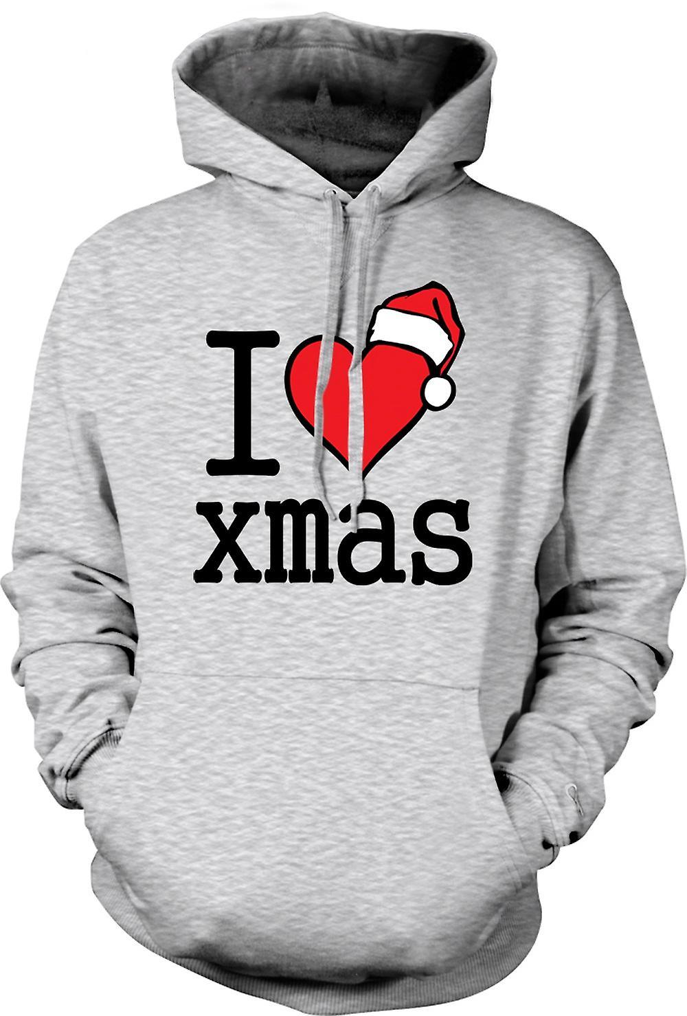 Mens Hoodie - I Love Xmas - Funny Christmas
