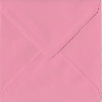 Pastel Pink Gummed 130mm Square Coloured Pink Envelopes. 100gsm FSC Sustainable Paper. 130mm x 130mm. Banker Style Envelope.