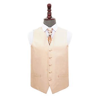 Champagne Solid Check Wedding Waistcoat & Cravat Set