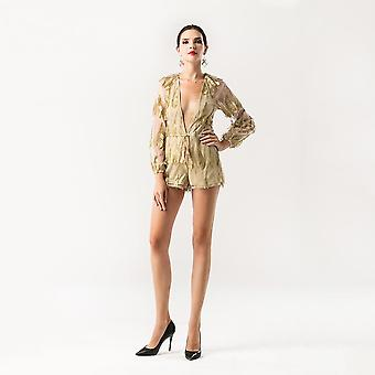Feathered mesh play suit
