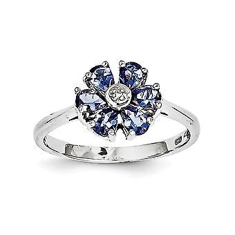 925 Sterling Silber Tanzanit und Diamant-Ring - Ringgröße: 6 bis 8