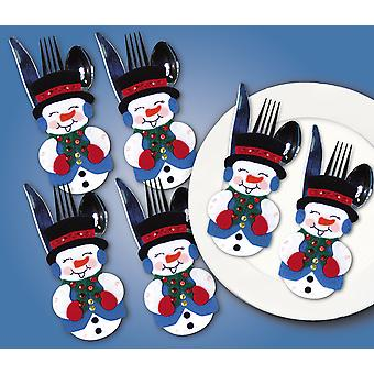 Snowmen Silverware Pockets Felt Applique Kit 4