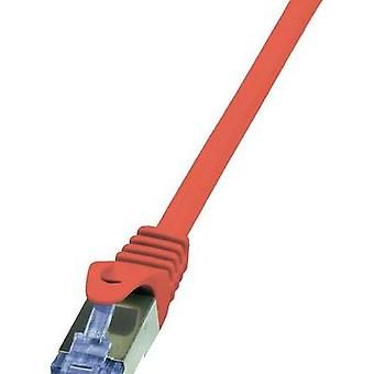 RJ49 Networks Cable CAT 6A S/FTP 0.25 m Red Flame-retardant, incl. detent LogiLink