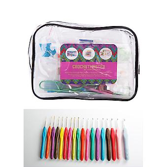 CrochetMaster - 96pcs Crochet Kit with 18pcs Soft Grip Crochet Hooks Ergonomic Handles and Aluminium Needle Set For Comfort and Painless Crocheting + 76pcs Knitting/Crocheting Tools Accessory Kit + Beautiful Carry Bag
