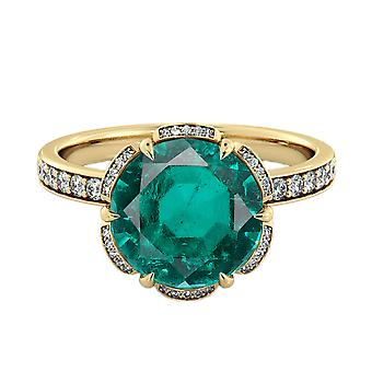 14K Yellow Gold 3.50 ctw Emerald Ring with Diamonds Flower Vintage Halo