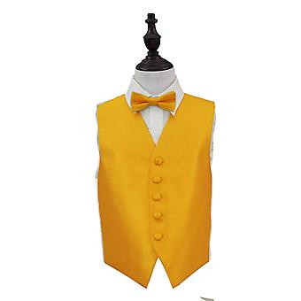 Boy's Sunflower Gold Solid Check Wedding Waistcoat & Bow Tie Set