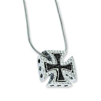Sterling Silver Rhodium-plated Lobster Claw Closure and Cubic Zirconia Crosses Necklace - 18 Inch