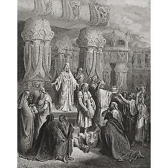Gravur von Dore Bibel illustrieren Esra ich 7 bis 11 Cyrus Wiederherstellung der Schiffe des Tempels von Gustave Dore 1832-1883 französische Künstler und Illustrator PosterPrint