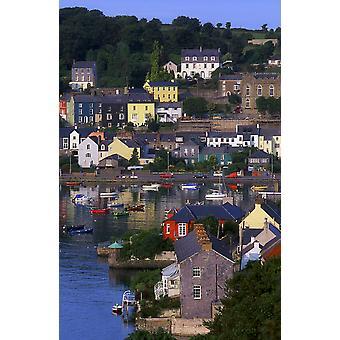 Kinsale Co Cork Irland båter og bygninger i Kinsale PosterPrint