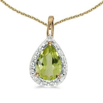 10k Yellow Gold Pear Peridot Pendant with 18