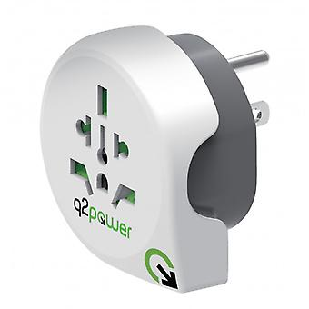 Q2 Power Travel Adapter World-to-United States Grounded